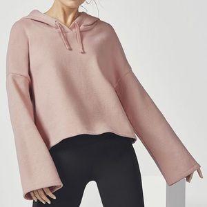 Fabletics Charlee Pullover Hoodie Sweatshirt Cropped High Low Pink Lounge M